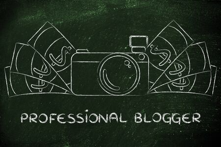 photoshoot: being a professional blogger: illustration of a funny camera with cash