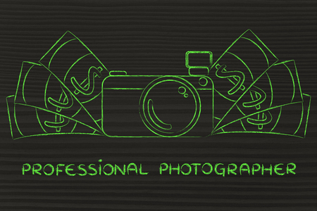 managed: being a professional photographer: illustration of a funny camera with cash Stock Photo