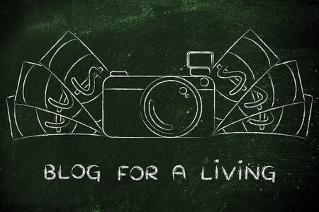 photoshoot: Blog for a living: illustration of a funny camera with cash