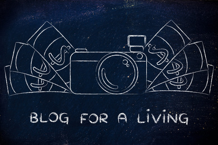 managed: Blog for a living: illustration of a funny camera with cash