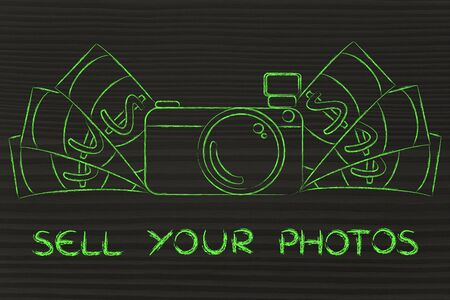 royalty free photo: sell your photos: illustration of a funny camera with cash Stock Photo