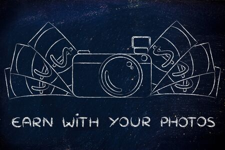 editorial: earn with your photos: illustration of a funny camera with cash