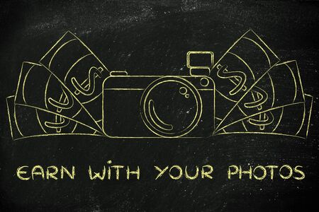 photoshoot: earn with your photos: illustration of a funny camera with cash