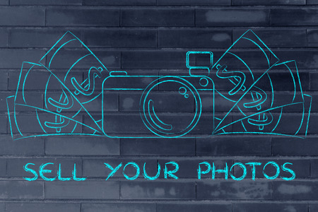 editorial: sell your photos: illustration of a funny camera with cash Stock Photo