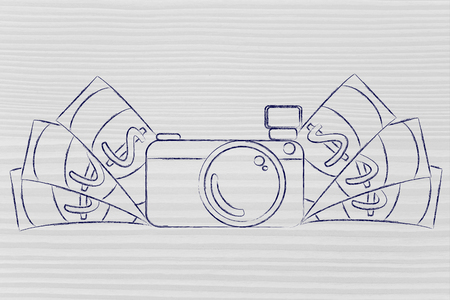 editorial: earn through photography: illustration of a funny camera with cash