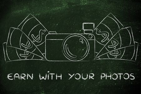 managed: earn with your photos: illustration of a funny camera with cash