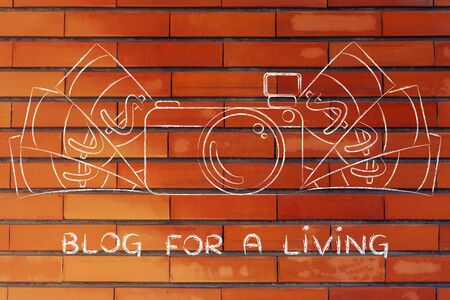 royalty free photo: Blog for a living: illustration of a funny camera with cash