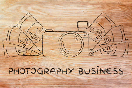 managed: photography business: illustration of a funny camera with cash