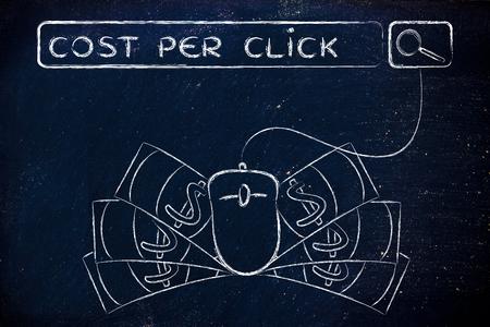 ganancias: coste por clic: Web barra de búsqueda con el ratón del ordenador y dinero en efectivo