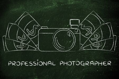 photoshoot: being a professional photographer: illustration of a funny camera with cash Stock Photo