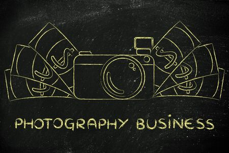 royalty free photo: photography business: illustration of a funny camera with cash