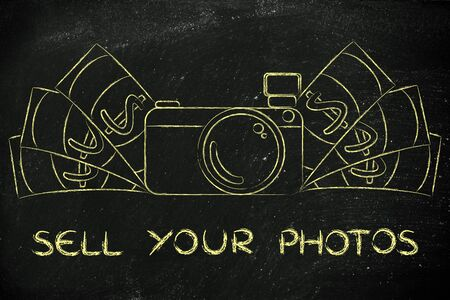 sell: sell your photos: illustration of a funny camera with cash Stock Photo
