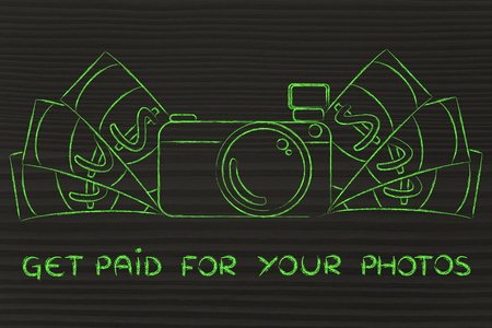 managed: Get paid for your photos: illustration of a funny camera with cash
