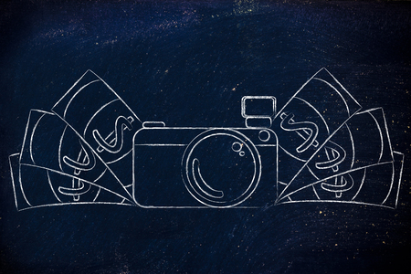 managed: earn through photography: illustration of a funny camera with cash