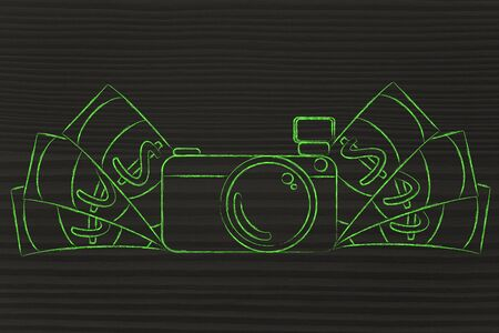 royalty free photo: earn through photography: illustration of a funny camera with cash