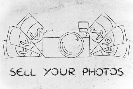 managed: sell your photos: illustration of a funny camera with cash Stock Photo