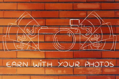 royalty free photo: earn with your photos: illustration of a funny camera with cash