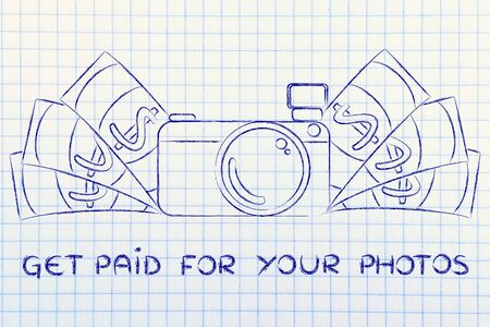 photoshoot: Get paid for your photos: illustration of a funny camera with cash