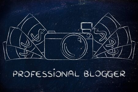 royalty free photo: being a professional blogger: illustration of a funny camera with cash