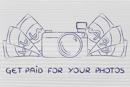editorial: Get paid for your photos: illustration of a funny camera with cash