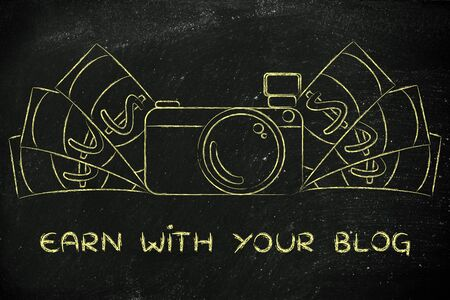 photoshoot: earn with your blog: illustration of a funny camera with cash