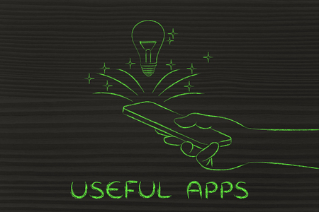 useful: Useful apps: lightbulb coming out of a smartphone screen Stock Photo