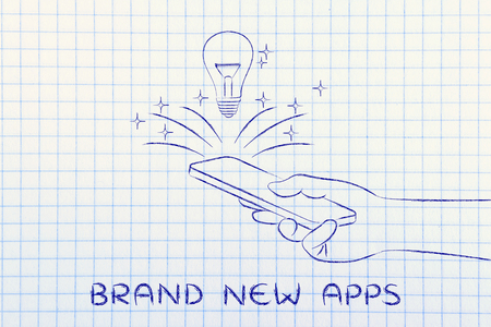 rd: brand new apps: lightbulb coming out of a smartphone screen
