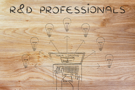 rd: R&D professionals: metaphor of laptop loading and producing ideas