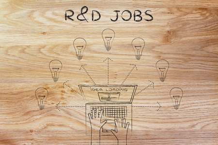 rd: R&D jobs: metaphor of laptop loading and producing ideas Stock Photo