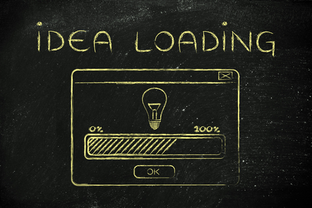 idea: Idea loading: illustration with pop-up window and progress bar Stock Photo