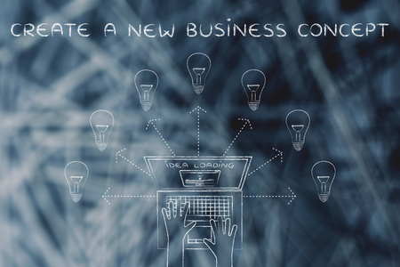 rd: create a new business concept: metaphor of laptop loading and producing ideas