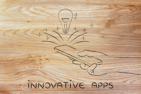 rd: innovative apps: lightbulb coming out of a smartphone screen Stock Photo