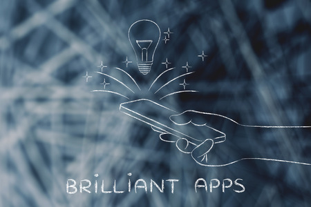 and brilliant: brilliant apps: lightbulb coming out of a smartphone screen Stock Photo
