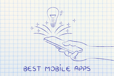 meilleures applications mobiles: Lightbulb sortant d'un écran Smartphone Banque d'images