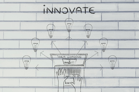 rd: innovate: metaphor of laptop loading and producing ideas