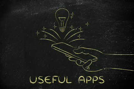 rd: useful apps: lightbulb coming out of a smartphone screen