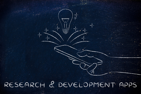 rd: research & development apps: lightbulb coming out of a smartphone screen