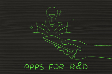 rd: apps for R&D: lightbulb coming out of a smartphone screen
