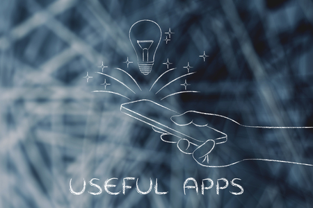 useful apps: lightbulb coming out of a smartphone screen