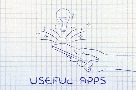 useful: useful apps: lightbulb coming out of a smartphone screen