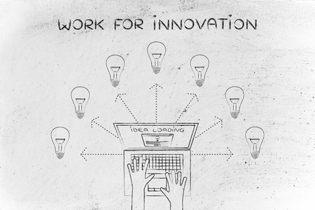 rd: work for innovation: metaphor of laptop loading and producing ideas