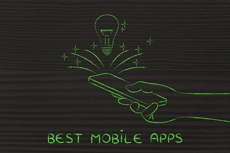 rd: best mobile apps: lightbulb coming out of a smartphone screen