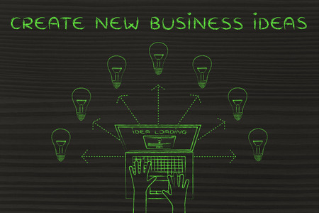 rd: create new business ideas: metaphor of laptop loading and producing ideas