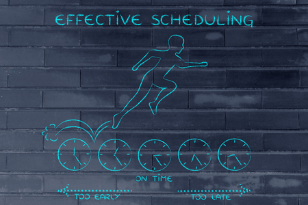 scheduling: effective scheduling: person running on clocks being on time Stock Photo