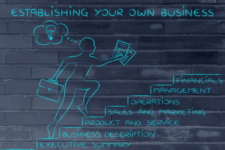 establishing: establishing your own business: entrepreneur running up metaphorical steps with its elements