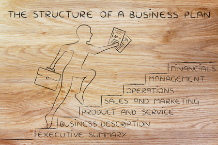 metaphorical: the structure of a business plan: entrepreneur running up metaphorical steps with its elements Stock Photo