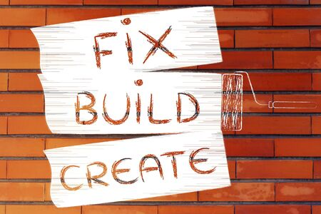 yourself: Fix, build, create: do it yourself inspired illustration of roller brush painting stripes