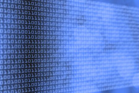 binary code and bokeh gradient in blue, technology and web themed background Banque d'images
