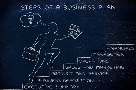 metaphorical: steps of a business plan: entrepreneur running up metaphorical staircase with its elements Stock Photo