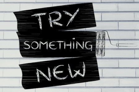 do it yourself: try something new: do it yourself inspired illustration of roller brush painting stripes Stock Photo